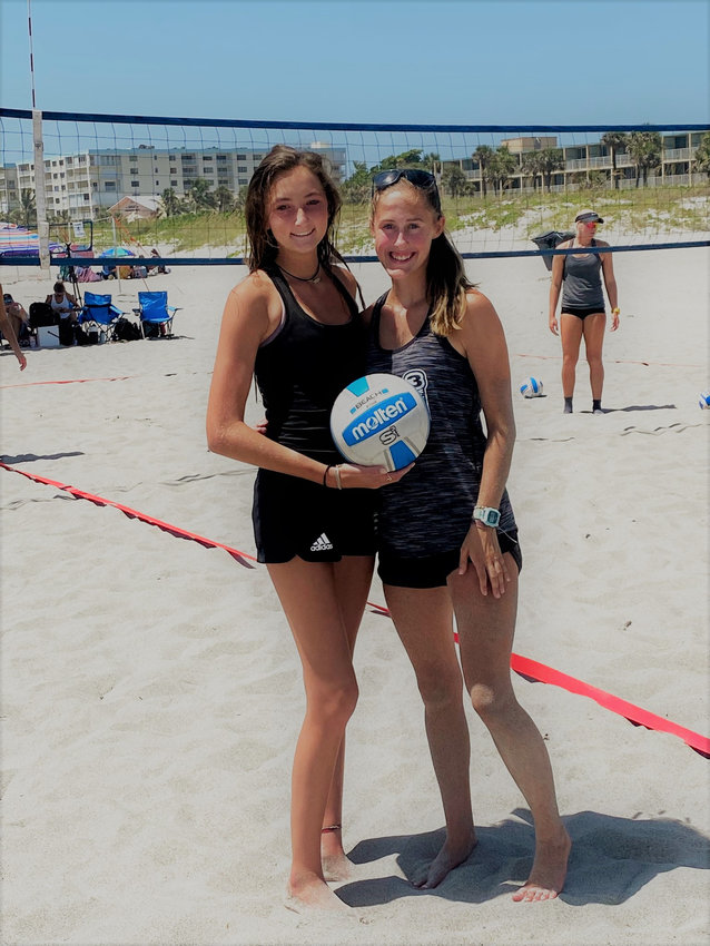 Cartersville High students Lauren Lawson, left, and Layne Condra competed in the AAU Junior Olympics in early August at Cocoa Beach, Florida. Lawson, a sophomore at CHS, competed in the 15u division, while Condra, a junior, participated in the 17u division. Both individuals made it to the Gold Bracket and received 17th place in their respective divisions.