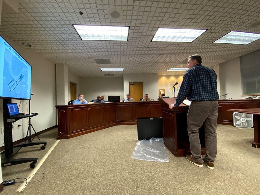 Karl Lutjens takes to the podium at Monday evening's Bartow County Planning Commission meeting.