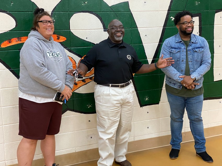 From left, Adairsville City Council candidate Brandey Jenkins, Adairsville Mayor Ken Carson and Adairsville City Council candidate Ahmad Hall.
