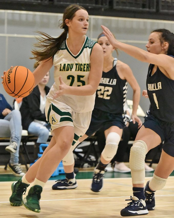 Adairsville's Lexie Childers drives towards the basket during a game last season. Childers and the Tigers are scheduled to begin the 2020-21 season against Woodland Monday at Armuchee.