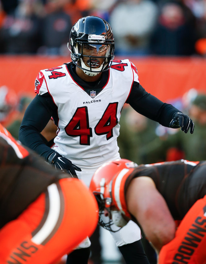In this Nov. 11, 2018, file photo, then-Atlanta Falcons defensive end Vic Beasley (44) plays against the Cleveland Browns during a game in Cleveland. Beasley landed on the Las Vegas Raiders practice squad Monday.