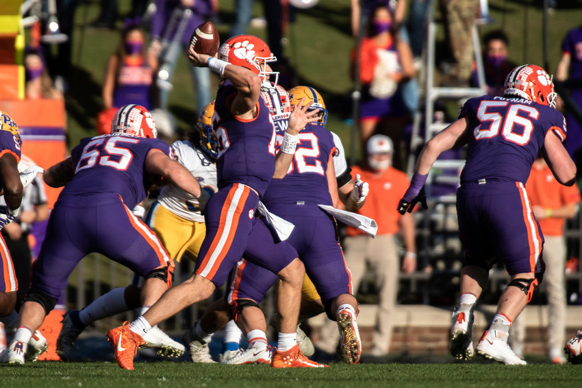 Clemson quarterback Trevor Lawrence makes a pass during the first half of a game against Pittsburgh Saturday in Clemson, South Carolina.