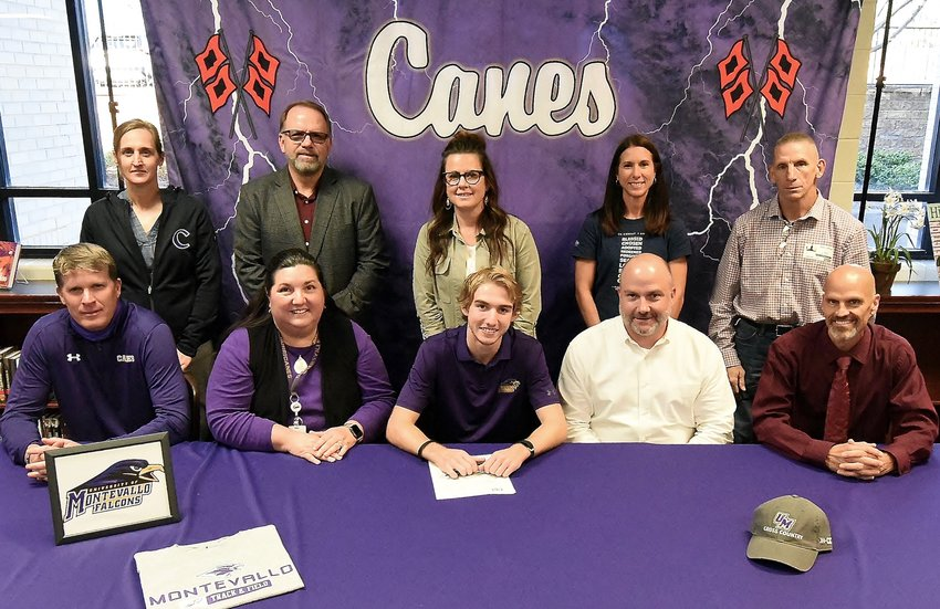 Cartersville High senior Bill Archer signed to run cross country and track and field at University of Montevallo (Alabama). On hand for the signing were, from left, front row: Matt Terry, CHS cross country and track and field coach; Amy Archer, mother; Lanier Archer, father; and David Matherne, CHS cross country coach; back row, Shelley Tierce, CHS principal; Darrell Demastus, CHS athletic director; Stephanie Heath, CHS cross country coach; Sherry Spinks, CHS cross country coach; and David Gierlak, Wire2Wire coach.