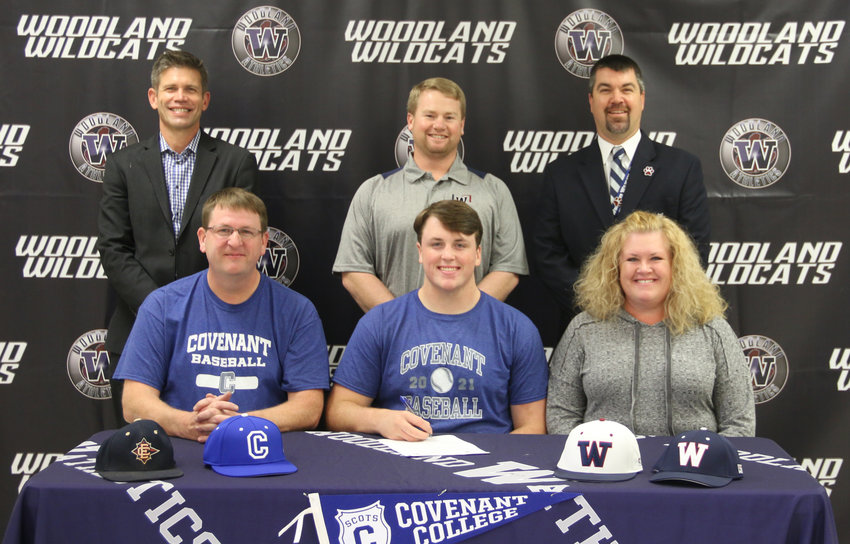 Woodland High senior Scotty Smith signed recently to play baseball at Covenant College in Lookout Mountain. On hand for the signing were, from left, front row: Keith Smith, father; Denise Smith, mother; back row, David Stephenson, WHS principal; Matt Montgomery, WHS head baseball coach; and John Howard, WHS athletic director.