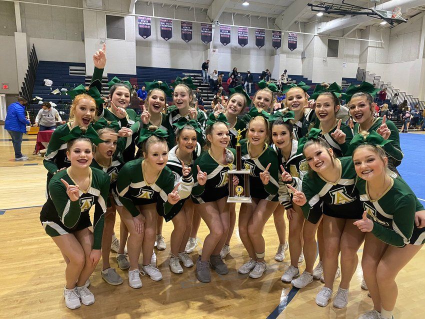 The Adairsville competition cheer team won the Class 3A division in an event Saturday at Woodland.