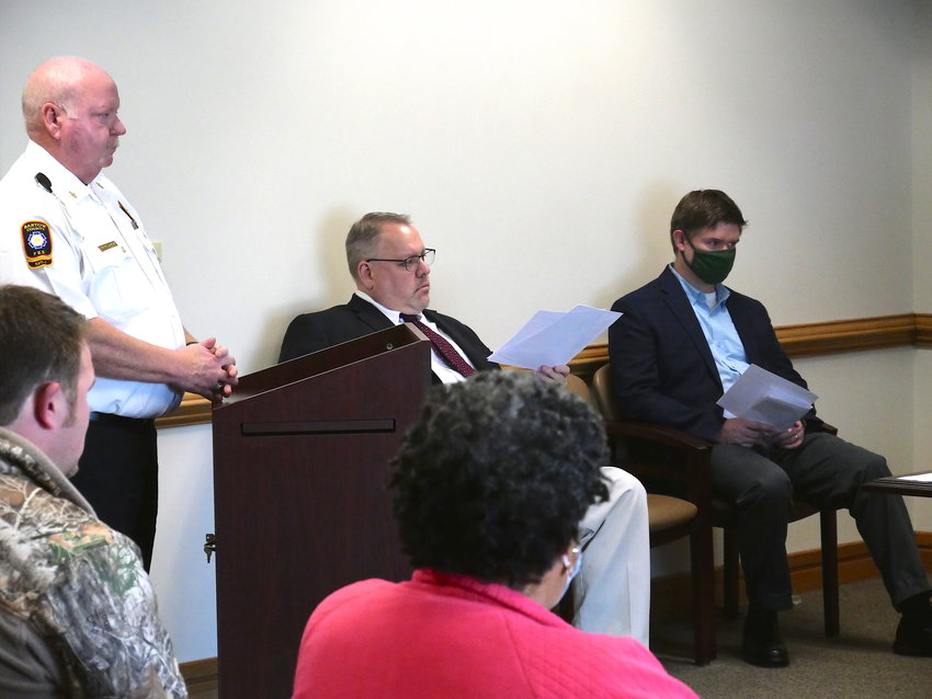 Bartow County Fire Department Chief Dwayne Jamison takes to the podium at a public meeting Wednesday morning.