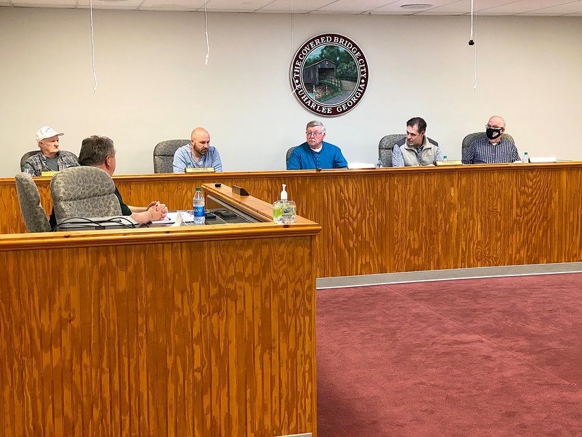 Members of the Euharlee City Council gather for Tuesday evening's public meeting.
