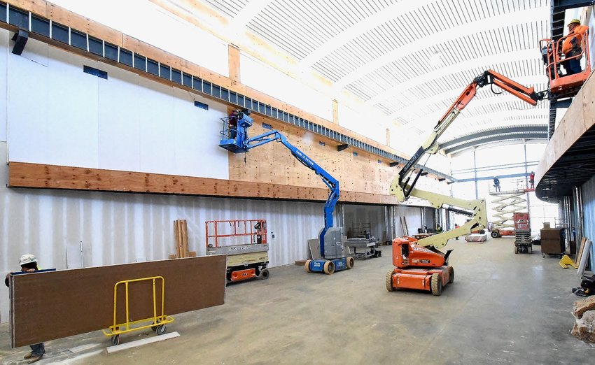 Construction continues in the Great Hall of the Savoy Automobile Museum, which is scheduled to open this fall.