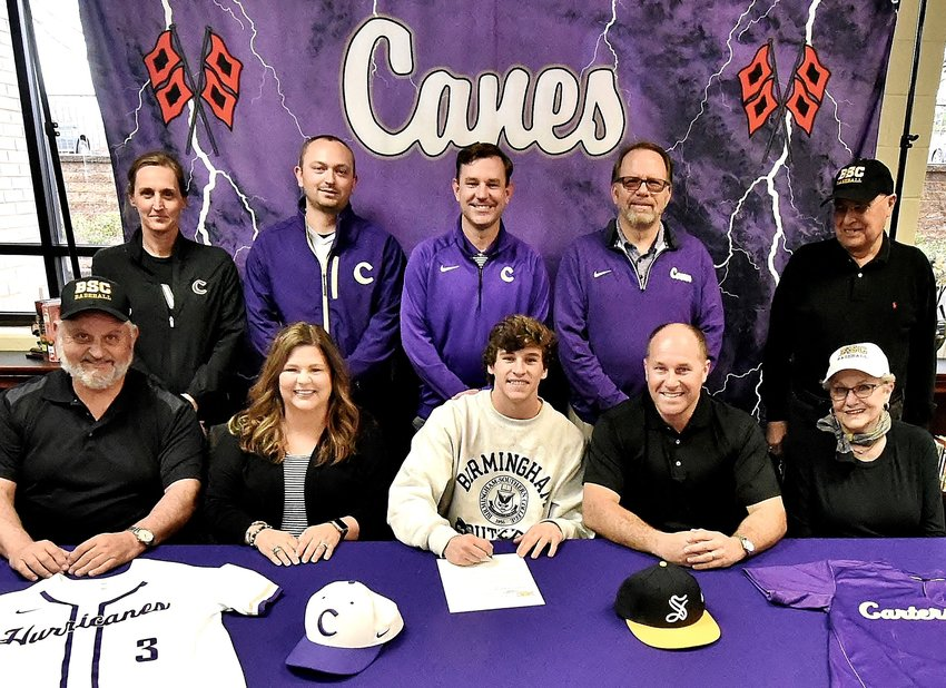 Cartersville High senior Davis Williams signed to play baseball at Birmingham Southern College in Alabama. On hand for the signing were, from left, front row: Gary Reinhardt, grandfather; Amy Williams, mother; Kit Williams, father; Regina Williams, grandmother; back row, Shelley Tierce, CHS principal; Jojo Underwood, CHS assistant coach; Kyle Tucker, CHS head coach; Darrell Demastus, CHS athletic director; and Larry Williams, grandfather.