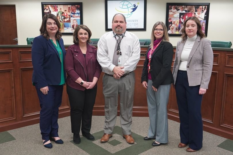 Making up the third cohort of Bartow County Schools' Aspiring Principals Leadership Academy are, from left, Assistant Principals Paige Bennett from Cloverleaf Elementary, Kim Wynn from Mission Road Elementary, Judson Smith from Pine Log Elementary, Amber Bunce from Red Top Middle and Melinda Wilder from Woodland High.