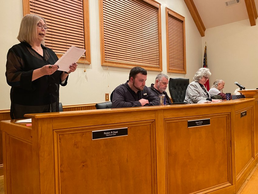 Members of the White City Council gather for Monday evening's public meeting.