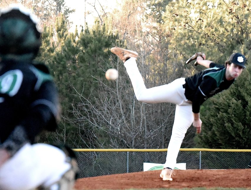Adairsville senior Elijah Padgett pitches against Coosa Wednesday at home.
