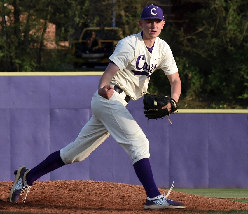 Cartersville senior Micah Earwood reacts after throwing a pitch against Sandy Creek during a non-region game Tuesday at Richard Bell Field. Earwood struck out 15, while allowing two hits and one walk, in a complete-game shutout.