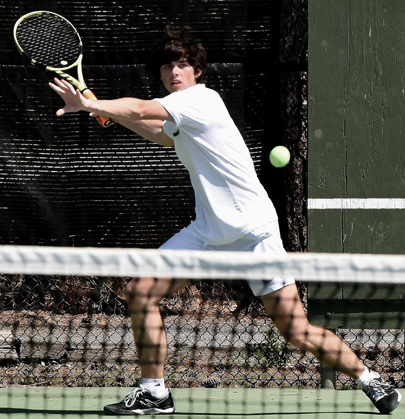 Cartersville senior Luke Kottemann competes in a Line 1 singles match against Blessed Trinity during the Region 7-AAAAA tournament championship Wednesday at Dellinger Park.
