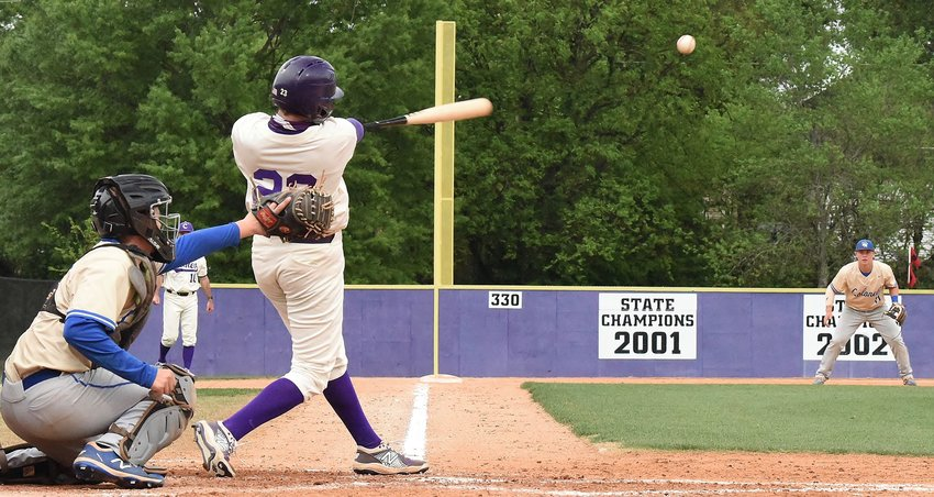 Cartersville junior Jimbo Gaines hits a single against Cass during Game 1 of a Region 7-AAAAA doubleheader Friday at Richard Bell Field.