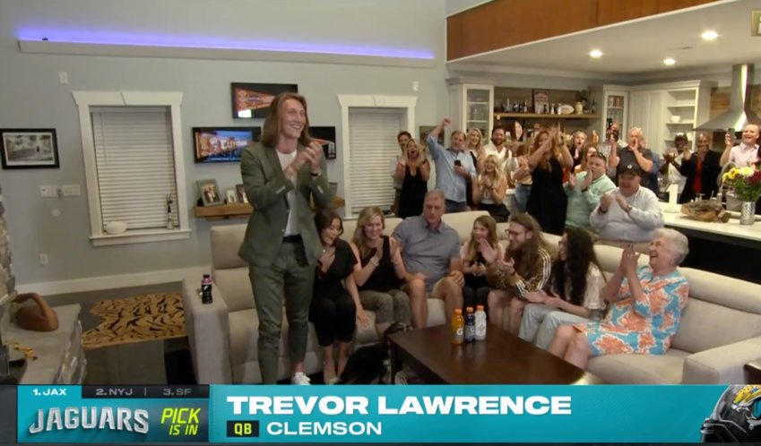 This screenshot from the ESPN coverage of the NFL Draft shows Trevor Lawrence moments after getting selected No. 1 overall by the Jacksonville Jaguars.
