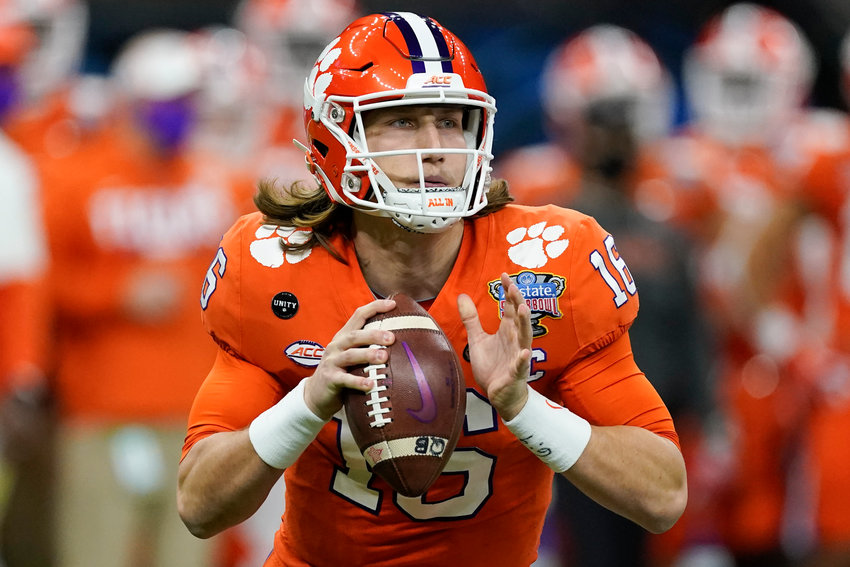 Clemson quarterback Trevor Lawrence passes against Ohio State during the first half of the Sugar Bowl Jan. 1 in New Orleans.