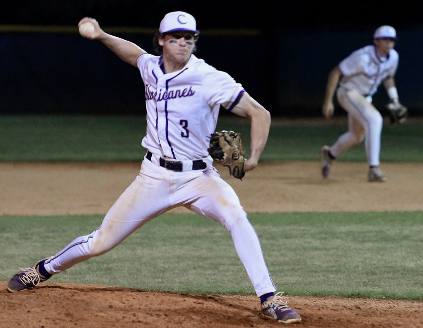 Cartersville senior Davis Williams pitches during Game 2 of a Class 5A second-round doubleheader Wednesday at McKoy Park in Decatur. Williams recorded saves in each of the games — both of which finished with identical 4-3 scores.