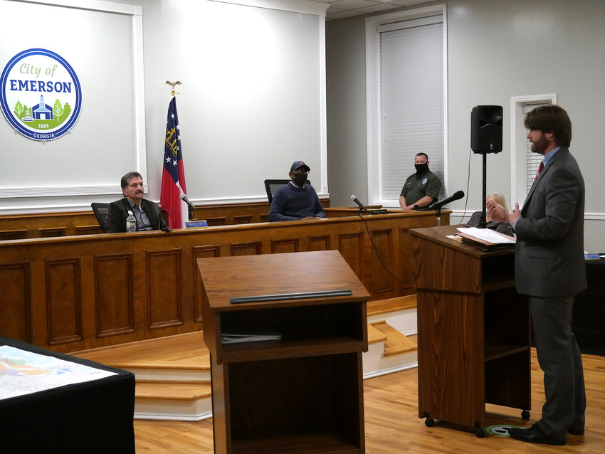 Attorney Brandon Bowen speaks at a Feb. 22 Emerson City Council meeting, which resulted in unsuccessful civil action from several homeowners.