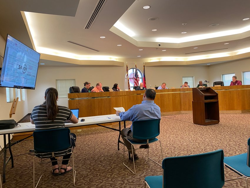 Members of the City of Cartersville Board of Zoning Appeals gather for Monday evening's public meeting.