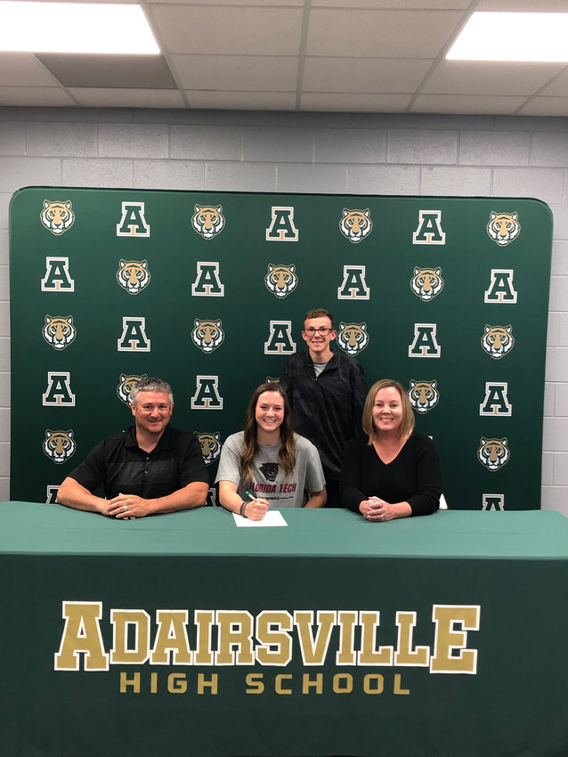 Adairsville High senior Harper Powell signed to swim at Florida Institute of Technology in Melbourne. On hand for the signing were, from left, front row: Shawn Powell, father; Angela Powell, mother; and back row, Brayden Powell, brother.