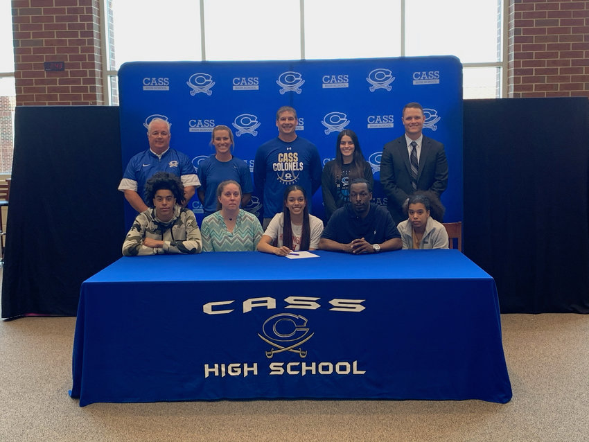 Cass High senior Ariana Hames signed recently to play basketball at Huntingdon College in Montgomery, Alabama. On hand for the signing were, from left, front row: Jelani Hames, brother; Lindsey Hames, mother; Jerry Hames, father; Akhari Hames, sister; back row, Nicky Moore, CHS athletic director; Taylor Washington, CHS assistant coach; Burt Jackson, CHS head coach; Whitney Harris, CHS assistant coach; and Steve Revard, CHS principal.