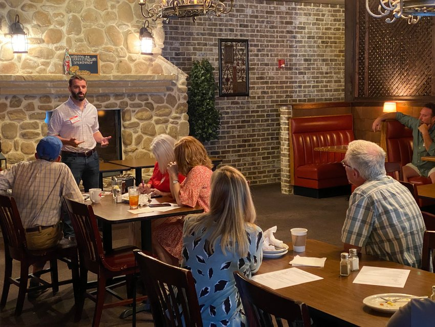 United States Senate candidate Latham Saddler speaks at a Bartow County Republican Party function.