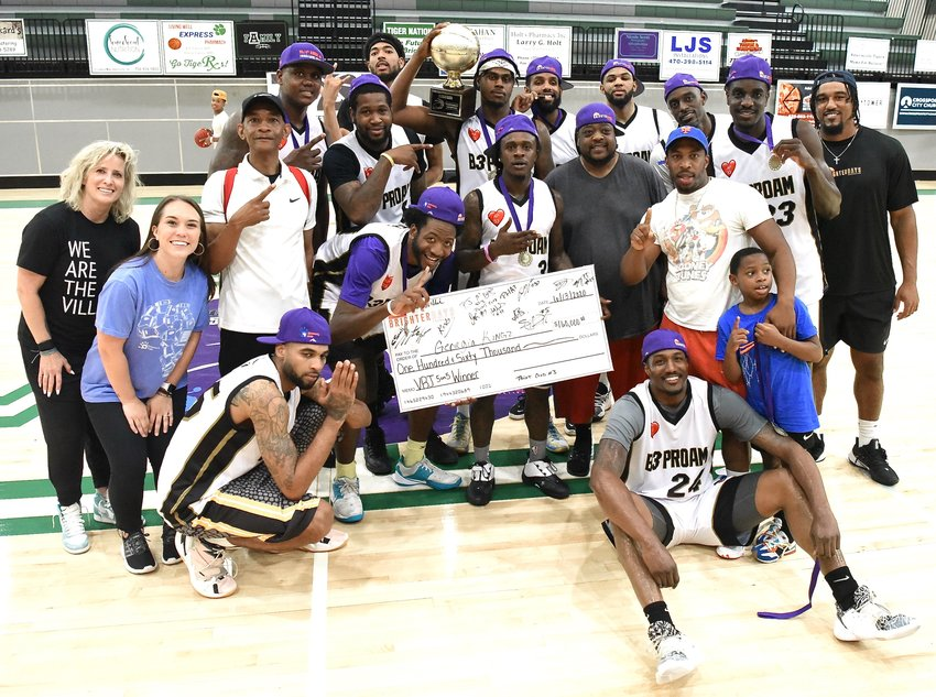 The Georgia Kingz pose for a photo after winning the Vic Beasley Jr. 5-on-5 Basketball Tournament Sunday in Adairsville. With the victory, the Kingz earned $160,000 to be split among the team members and an automatic berth into The Basketball Tournament, which will air later this summer on ESPN.