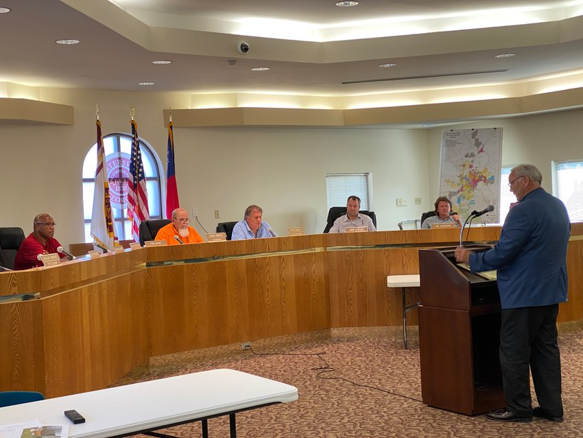 Attorney Danny Deems takes to the podium at Monday evening's City of Cartersville Board of Zoning Appeals meeting.