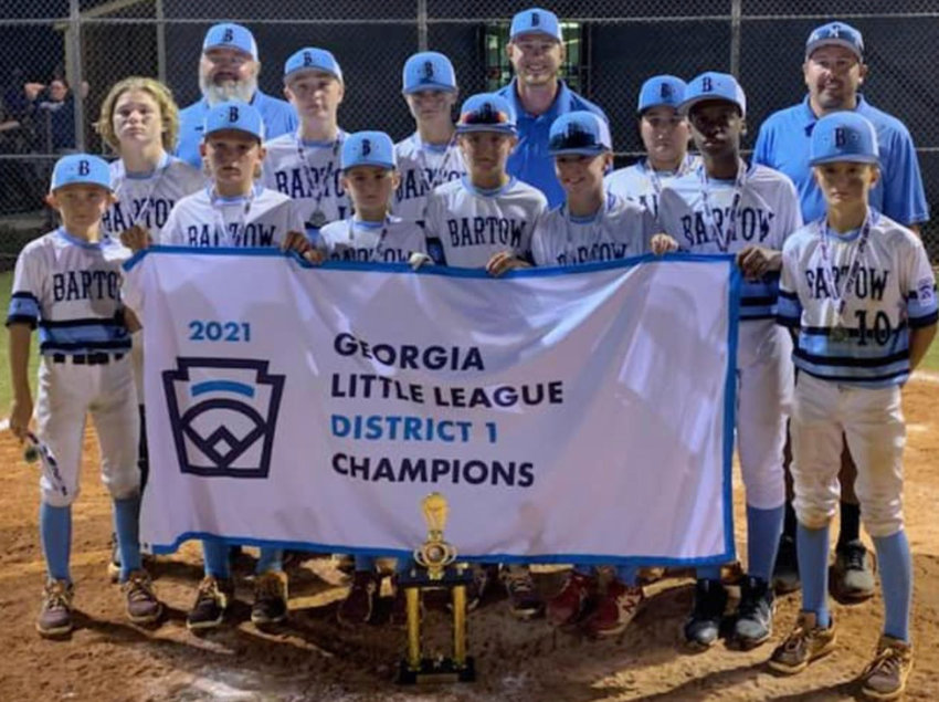 The Bartow County 12U Little League baseball team is pictured June 24 after winning the District 1 championship. The team routed Peachtree City Wednesday 13-4 to earn a spot in the state championship.