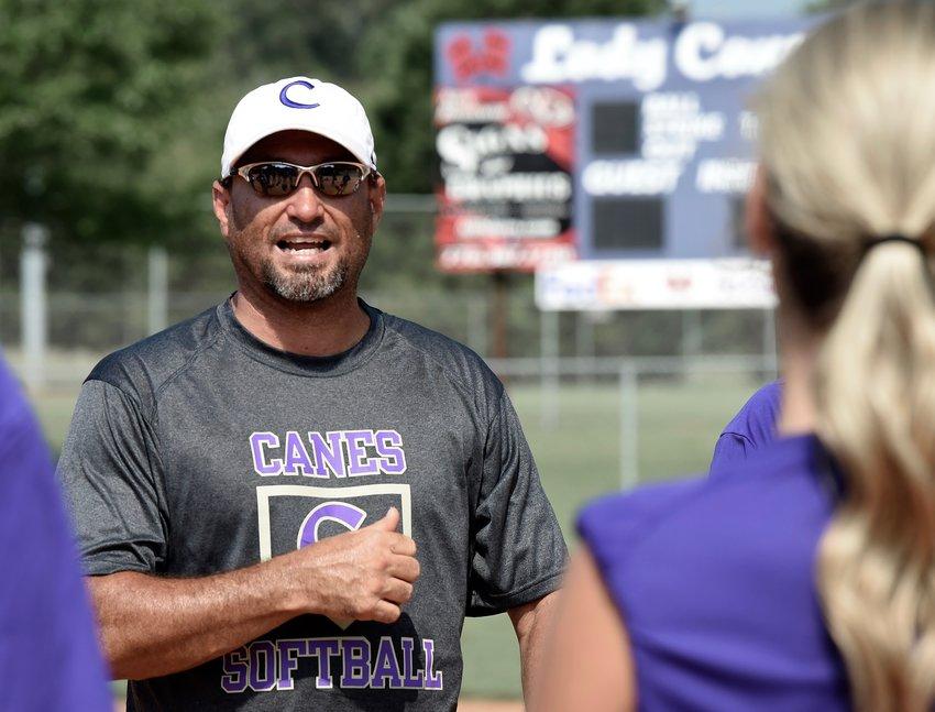 New Cartersville High head softball coach Glen Woodard talks to his players during a workout Tuesday at the Cartersville Sports Complex.