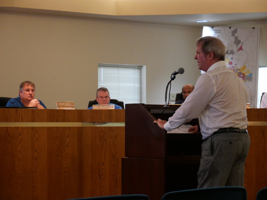 Thomas B. Thompson speaks at Tuesday evening's City of Cartersville Planning Commission meeting.
