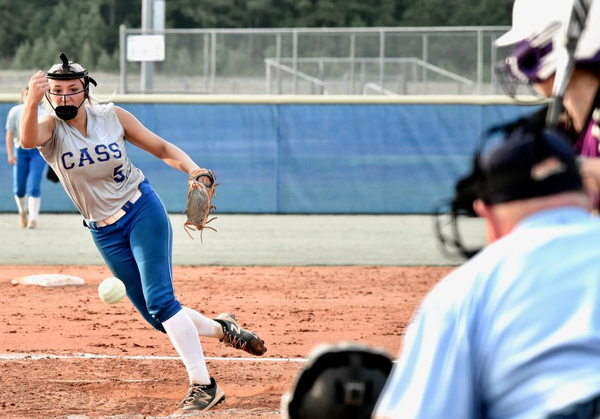 Cass senior Rachael Lee pitches against Cartersville during a Region 7-5A game Tuesday at home. Lee struck out three, while limiting the Canes to three hits and one walk in a complete-game shutout.