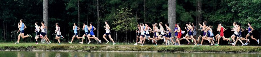 Cross country runners compete in the boys varsity race of the Wire2Wire Invitational Saturday at Dellinger Park.