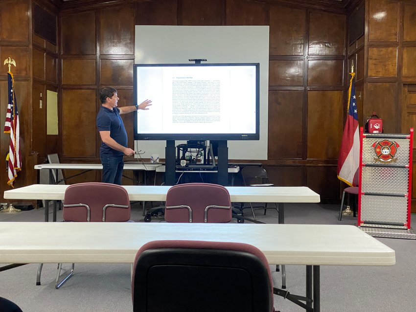 Jason Heard goes over a draft of the proposed 2021 Bartow County Hazard Mitigation Plan at a public meeting on Wednesday morning.