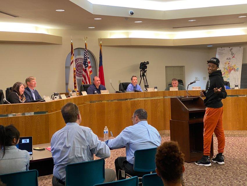 Ashton Hagans takes to the podium at Thursday evening's Cartersville City Council meeting.