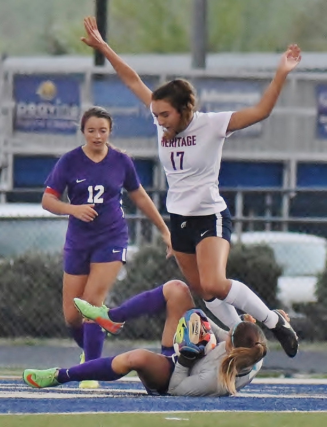 Cartersville senior goalkeeper Kalli Scheff made a save at the feet of a Heritage player in the first round of the GHSA Class 4A state tournament. Scheff and her teammates will face St. Pius in the second round on the road Tuesday.