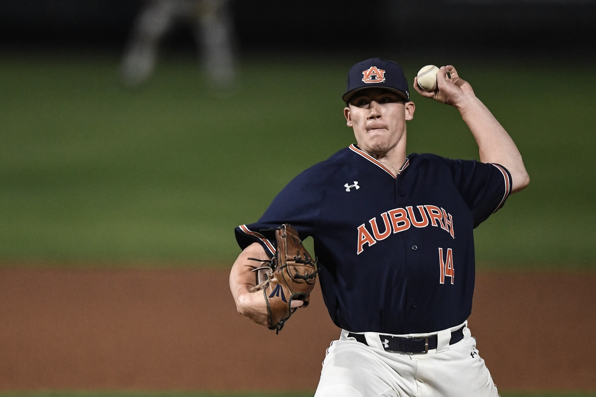 Auburn sophomore Elliott Anderson pitches during a game earlier this season. The former Cartersville hurler is 5-0 in 18 appearances this season for the Tigers with a 2.81 ERA and 28 strikeouts in 25 2/3 innings.