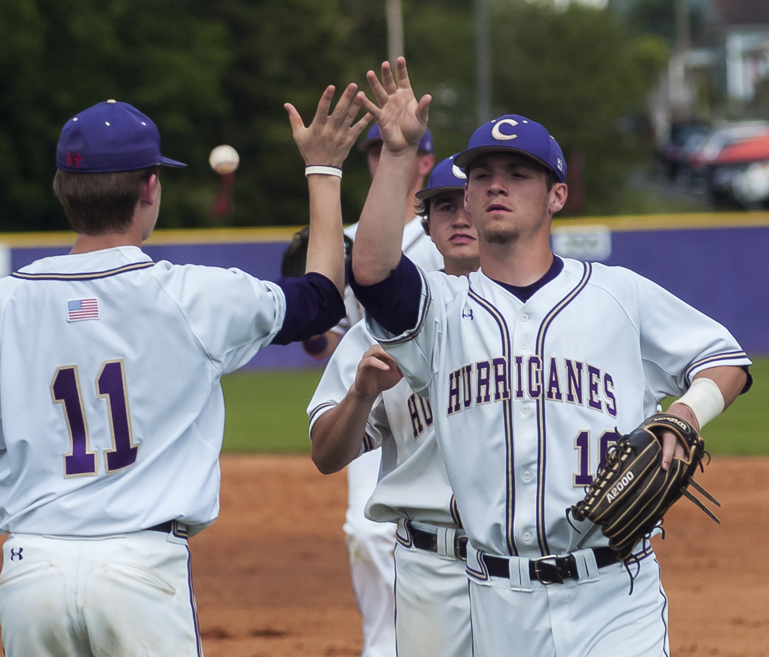Cohen Wilbanks (11) and J.P. Martin celebrate during Game 1 of Cartersville's Class 4A state quarterfinal series with Spalding on Wednesday at Richard Bell Field.