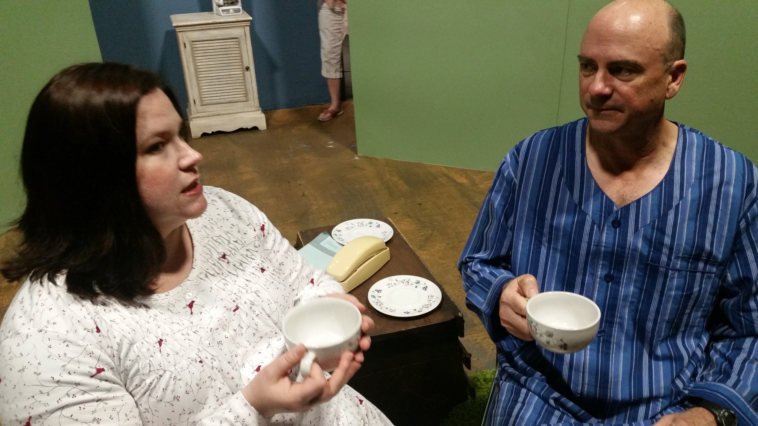 "Ann-Marie Thomas and Tom Owens rehearse a scene from ""Vanya & Sonia & Masha & Spike,"" which opens June 8 at The Legion Theatre in Cartersville."