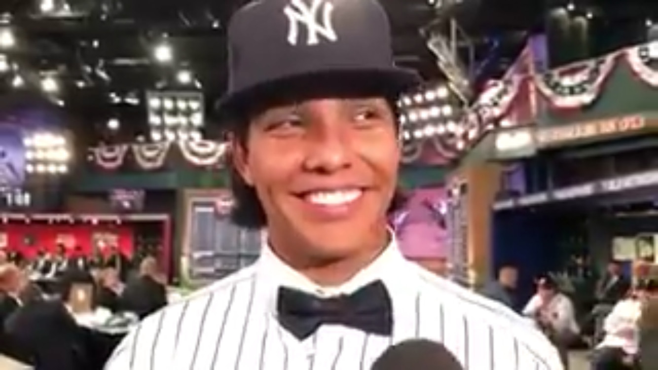 Former Cartersville catcher Anthony Seigler answers questions from a pool of reporters after being drafted 23rd overall in MLB draft by the New York Yankees on Monday night in Secaucus, New Jersey.