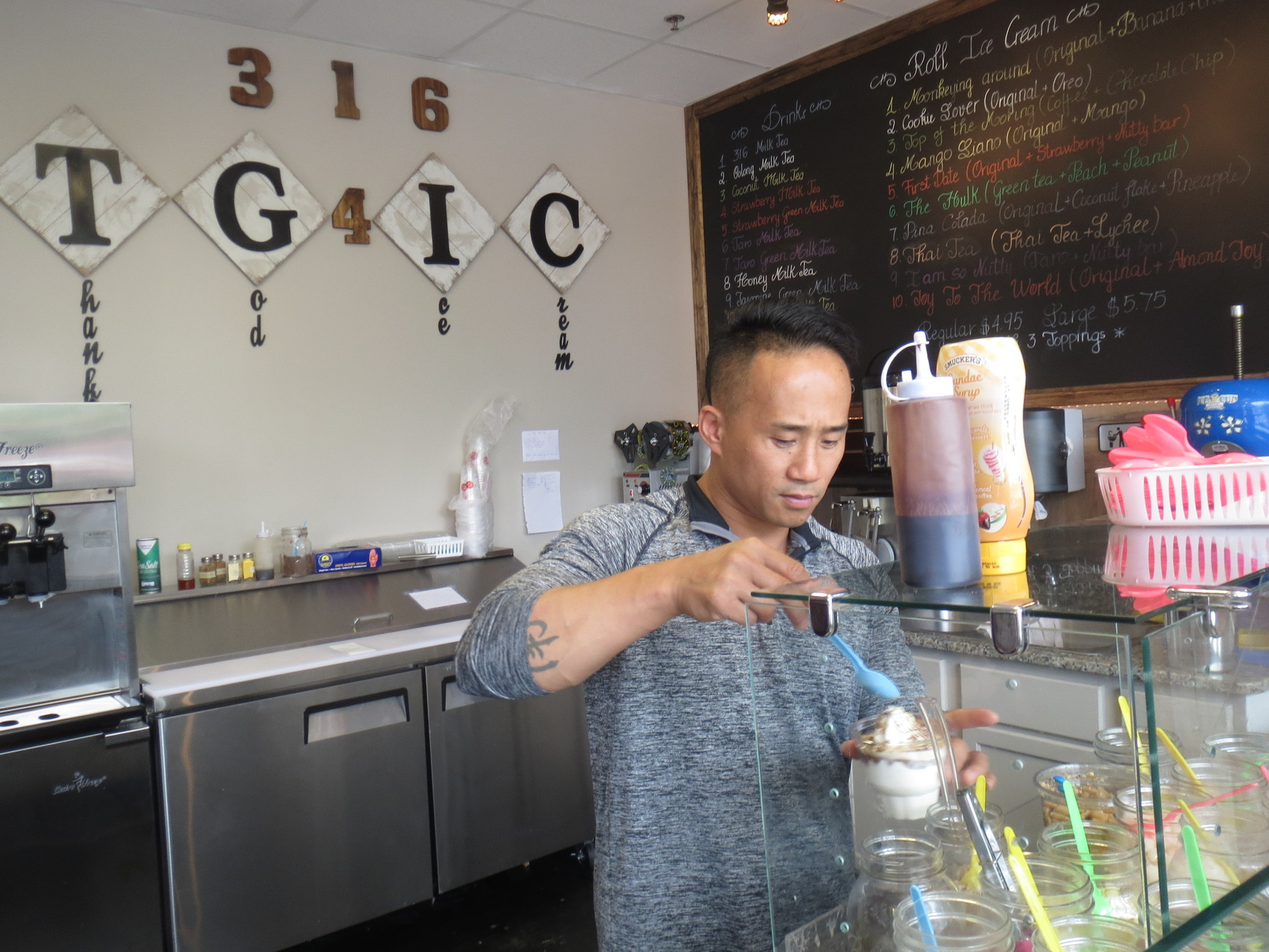 Among the rolled ice cream specialties at 316 T.G. 4 Ice Cream include green tea, coffee and lychee-enthused offerings.