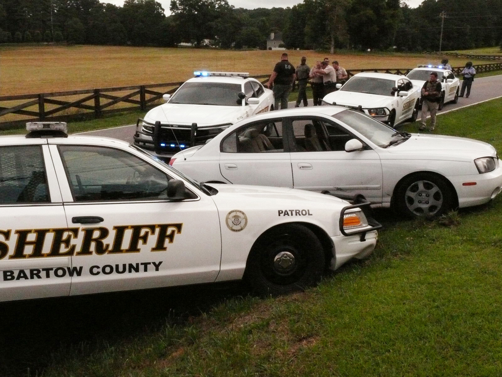 A Bartow County Sheriff's Deputy forced a late-model Toyota into a ditch on Cass-White Road Tuesday morning. Ten patrol cars from the Georgia State Patrol and Bartow County Sheriff's Office chased a Tennessee man with a drug warrant. The chase began on Rudy York Road and ended on Cass White Road near Shinall Gaines Road.