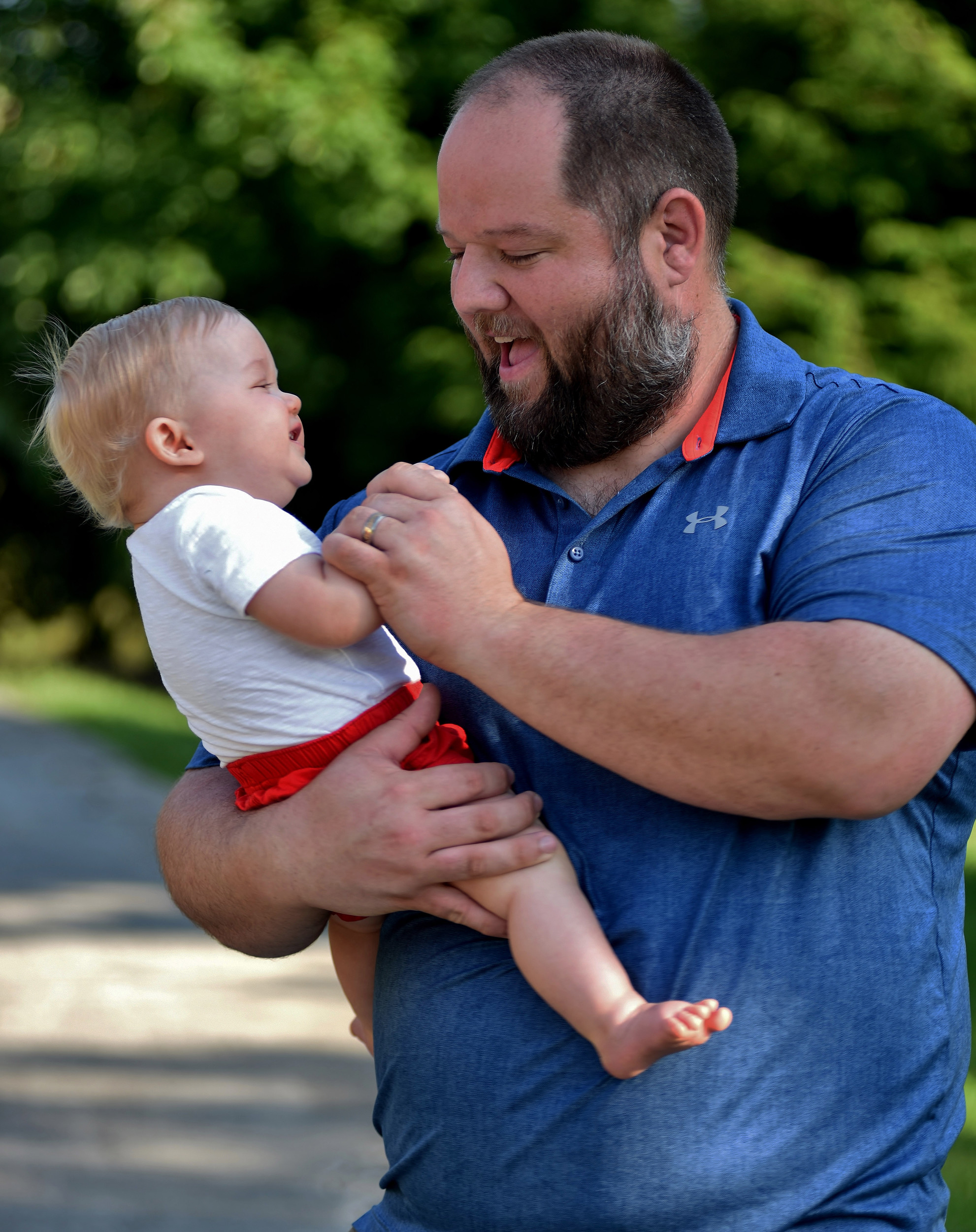 Tom Shinall shares a laugh with his son Walter, who will celebrate his first birthday Aug. 16.