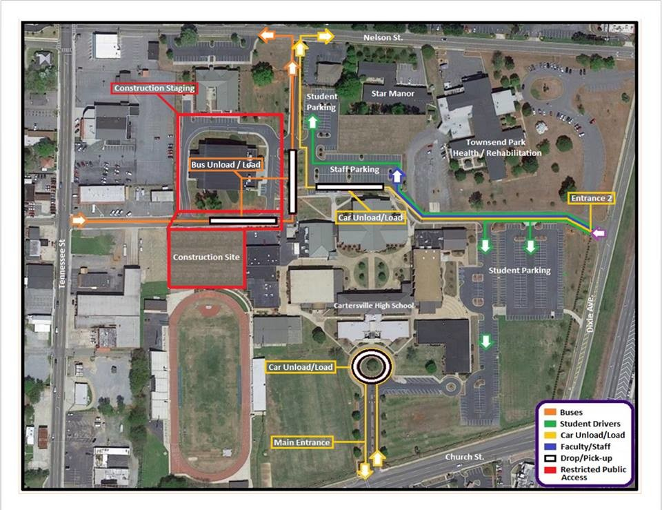 On-campus construction is forcing changes in the traffic pattern at Cartersville High School for the 2018-19 school year.