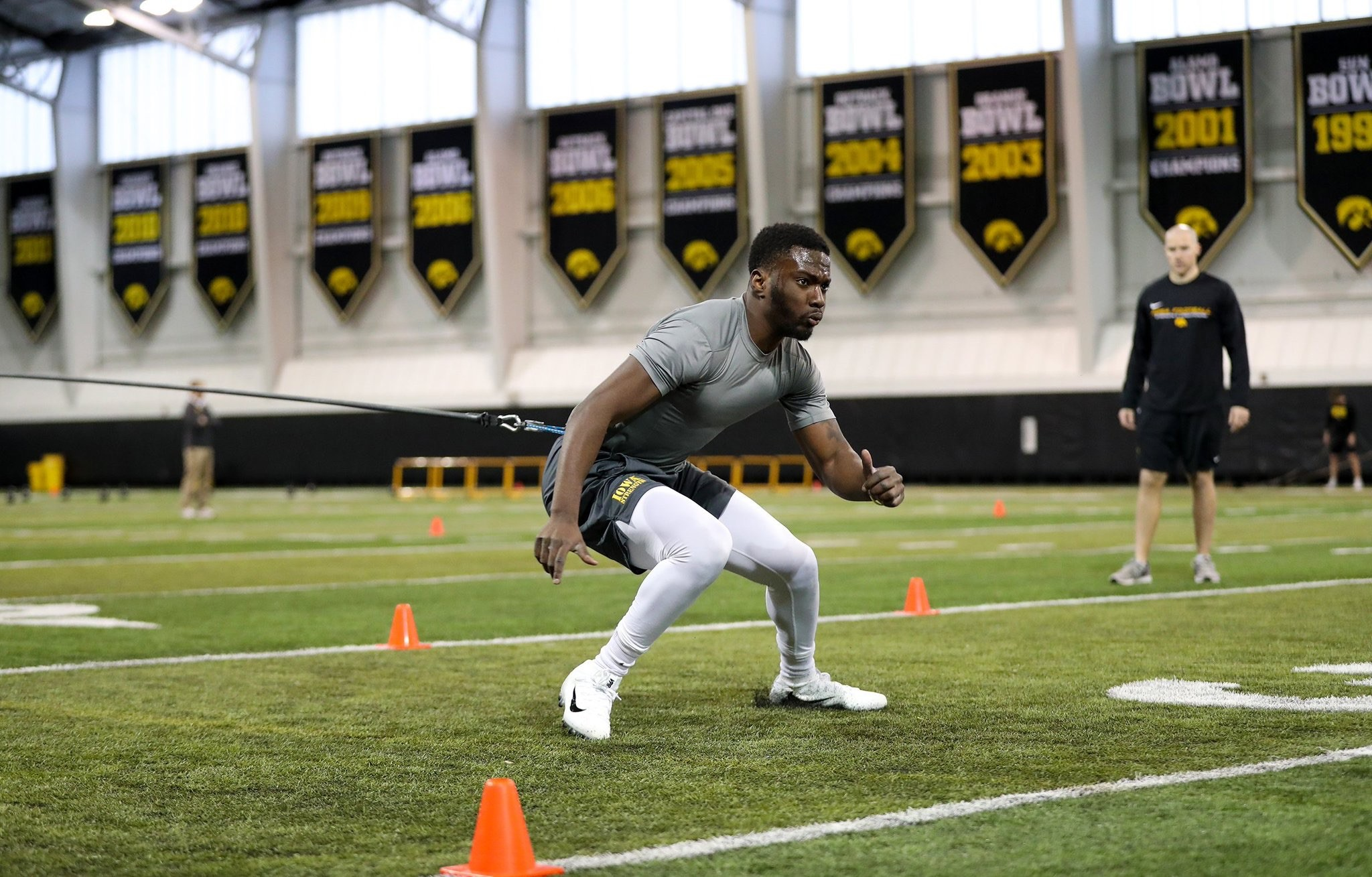 Trey Creamer works out inside Iowa's indoor practice facility. The Cartersville High product currently sits at No. 2 on the depth chart at the left cornerback position for the Hawkeyes heading into his redshirt freshman season.