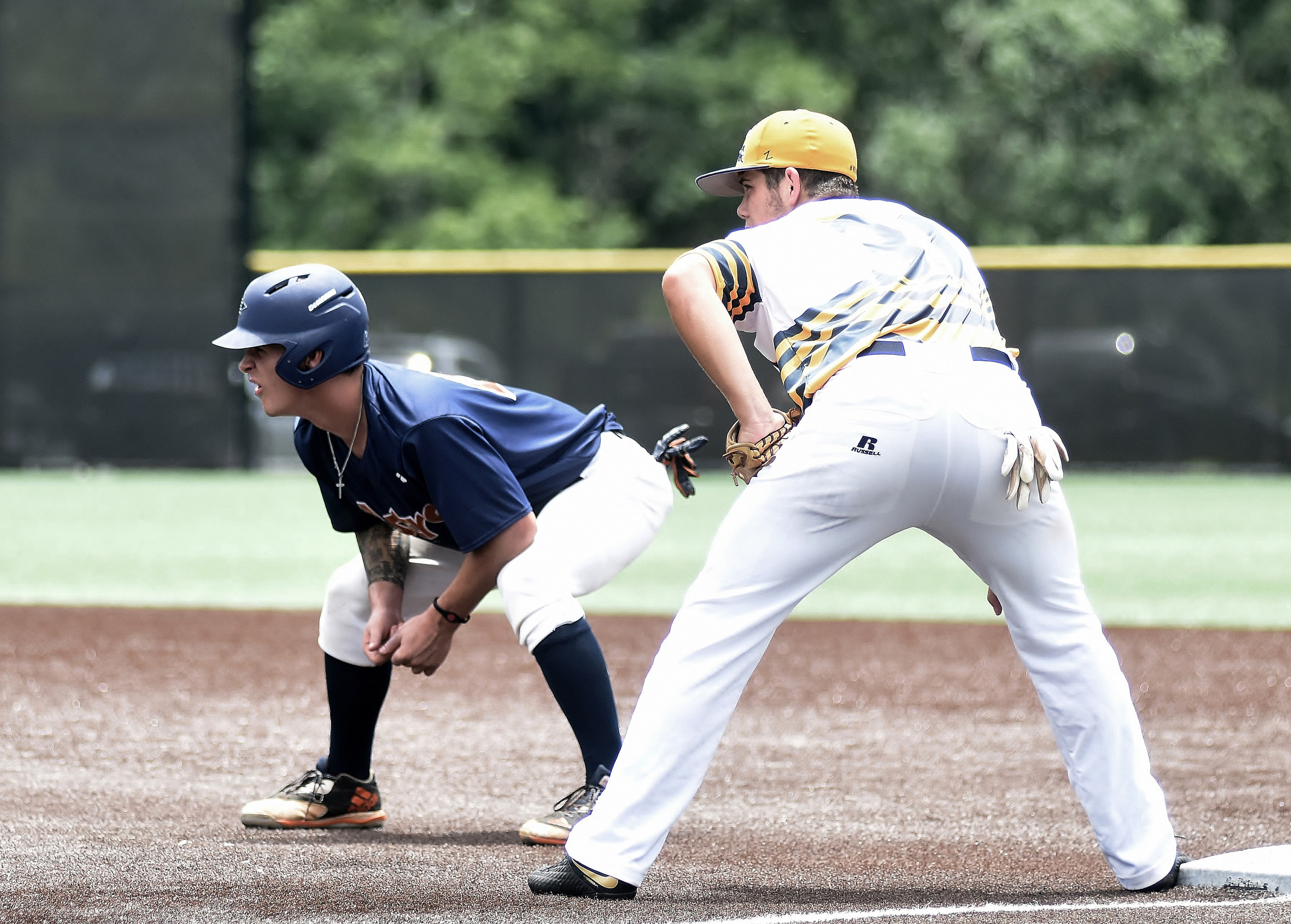 Cartersville High's J.P. Martin of the East Cobb Astros leads off first base during a pool-play game in the 2018 WWBA 17U National Championship on Monday at LakePoint.