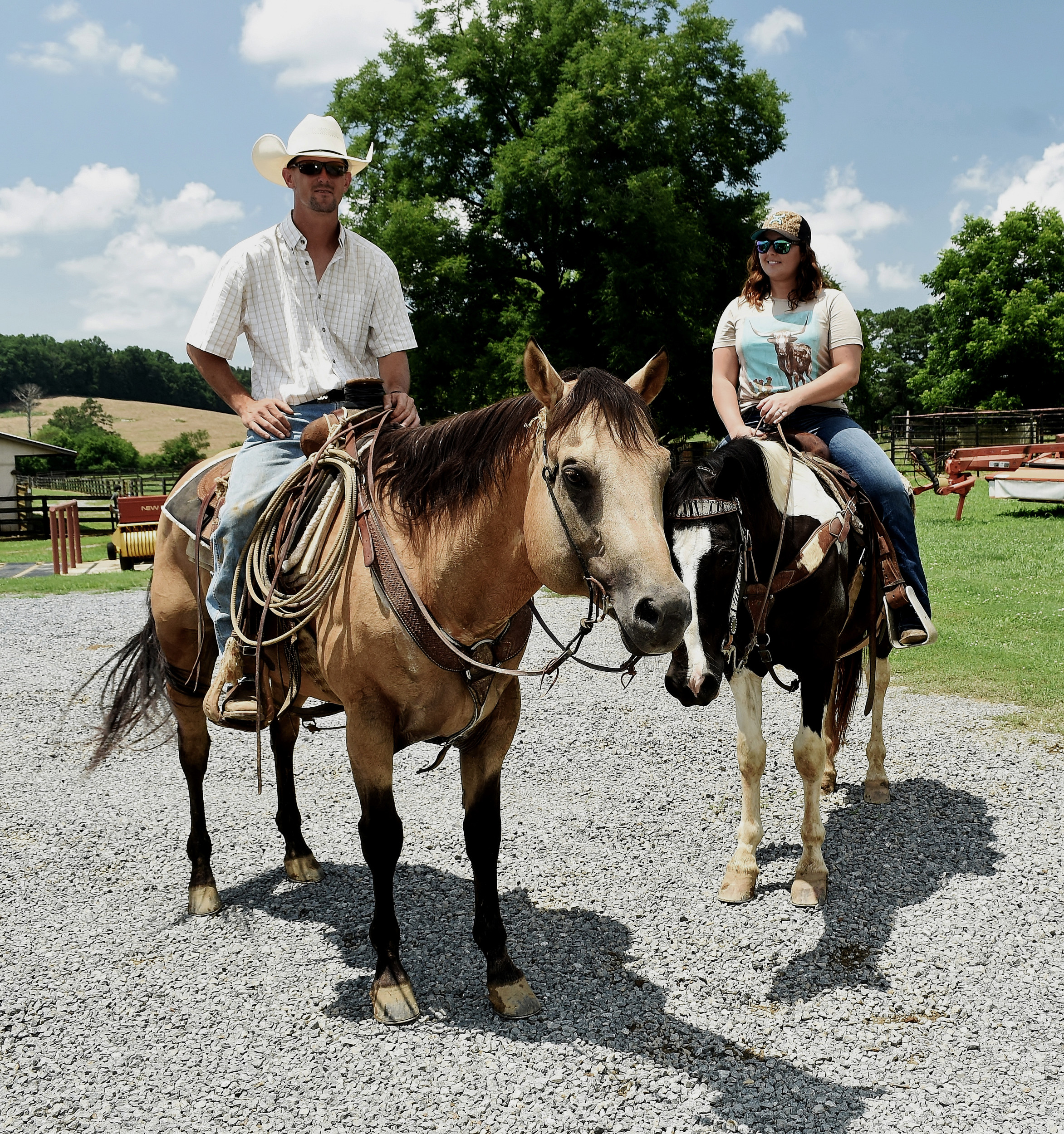 Jonathan Watkins and his wife, Jessica, cover most of their farm on horseback.
