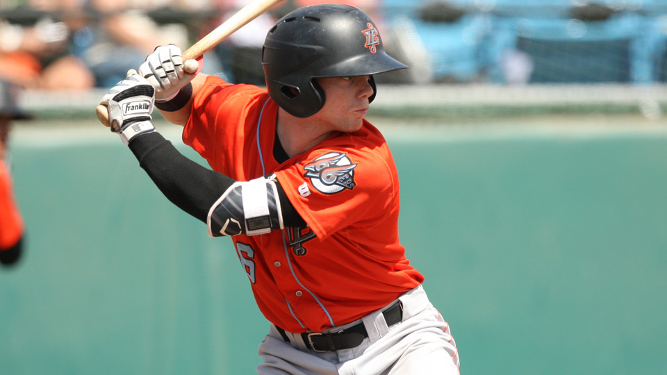 Former Cane Connor Justus prepares for a pitch during a game with the Inland Empire 66ers.