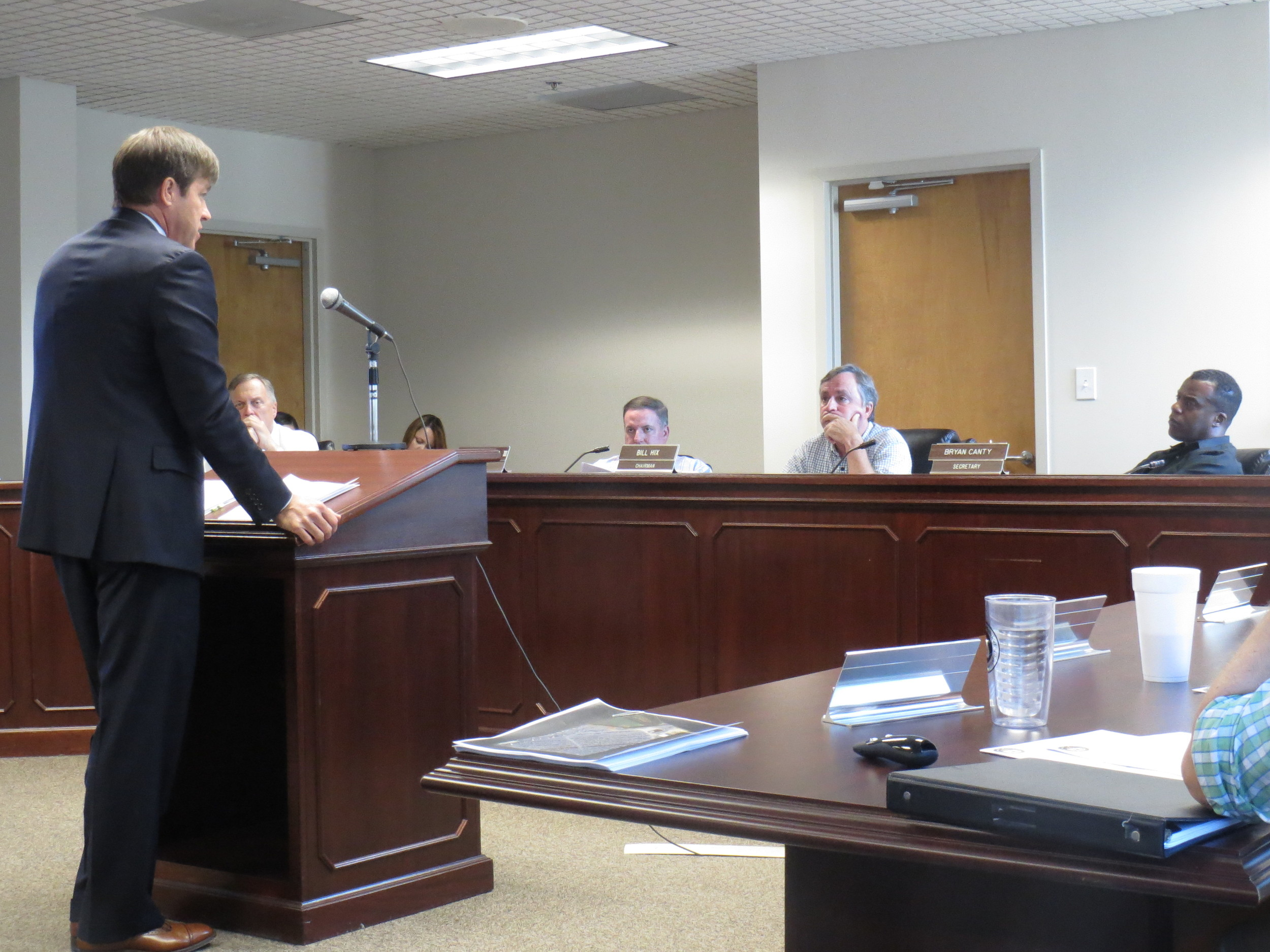 Attorney Jeffrey Watkins speaks before the Bartow County Planning Commission on Monday evening.